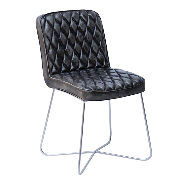 Jídelní židle kožená Swansea, černá/antracit