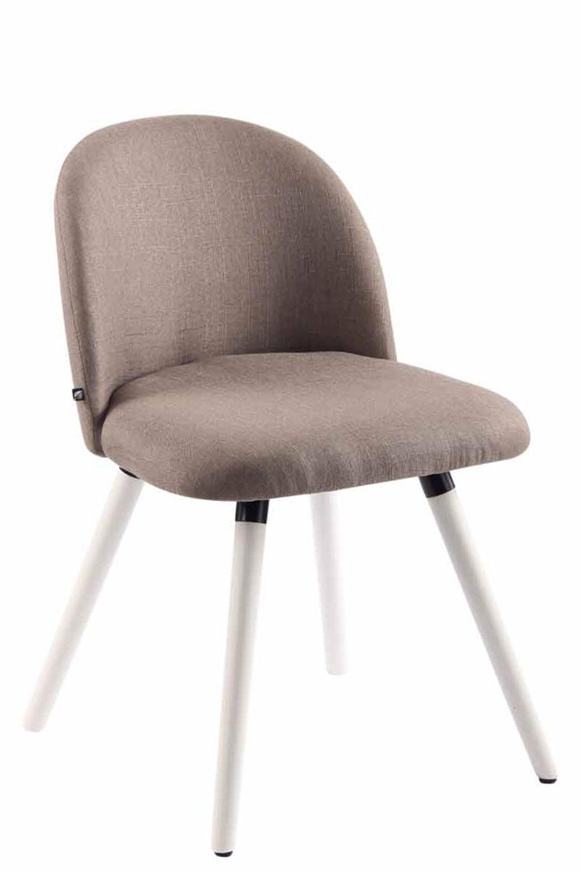 Jídelní židle Mandel textil, bílé nohy taupe