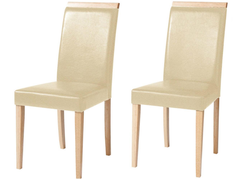 Jídelní židle Reve (SET 2 ks), krémová / přírodní dřevo