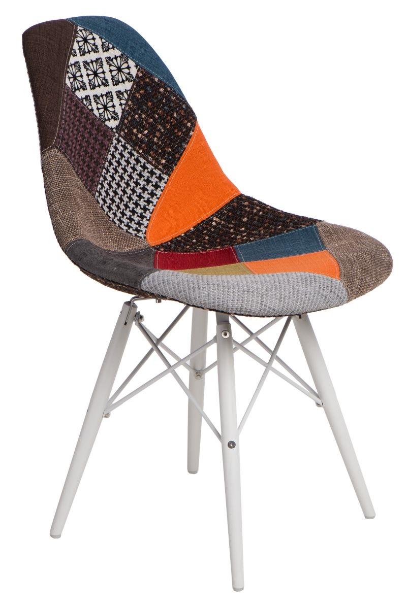Jídelní židle s bílou podnoží Desire patchwork, barevná