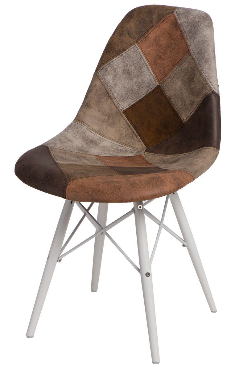 Jídelní židle s bílou podnoží Desire patchwork, béžová