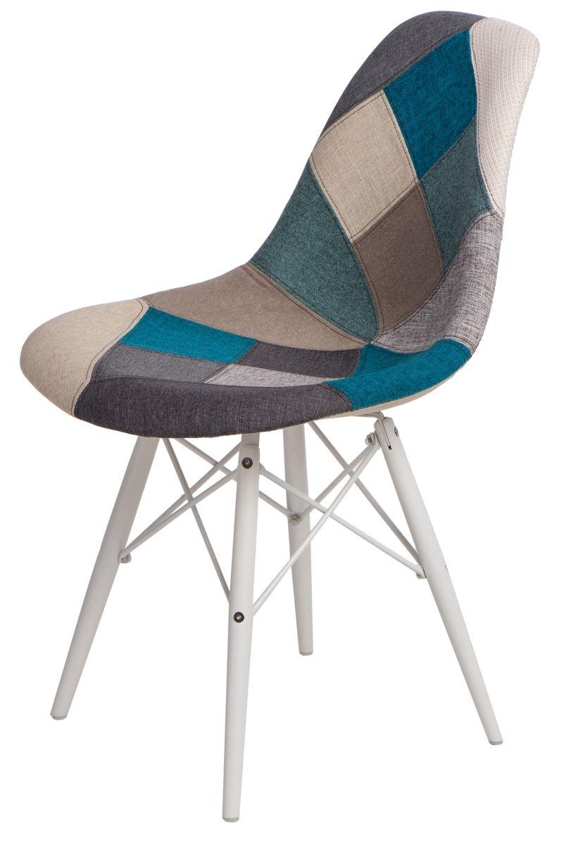 Jídelní židle s bílou podnoží Desire patchwork, modrá