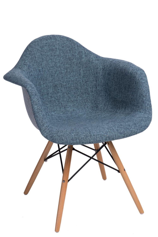 Jídelní židle s dřevěnou podnoží Blom čalouněná, šedá/modrá