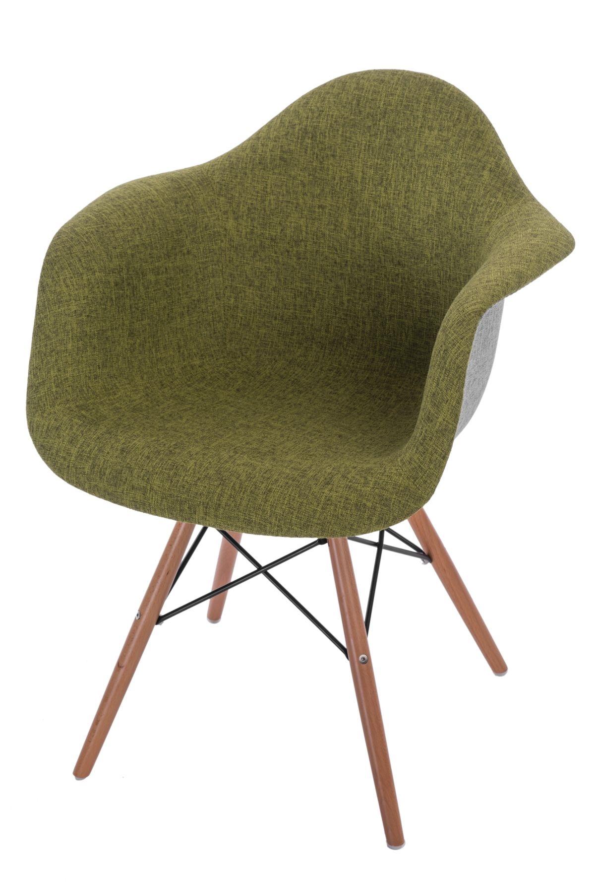 Jídelní židle s dřevěnou podnoží Blom čalouněná, šedá/zelená