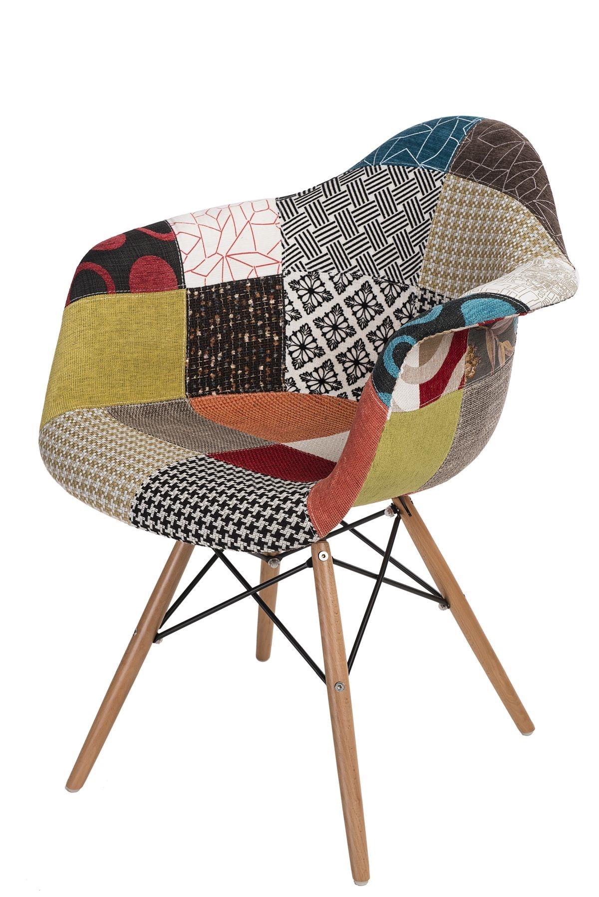 Jídelní židle s dřevěnou podnoží Blom patchwork, barevná