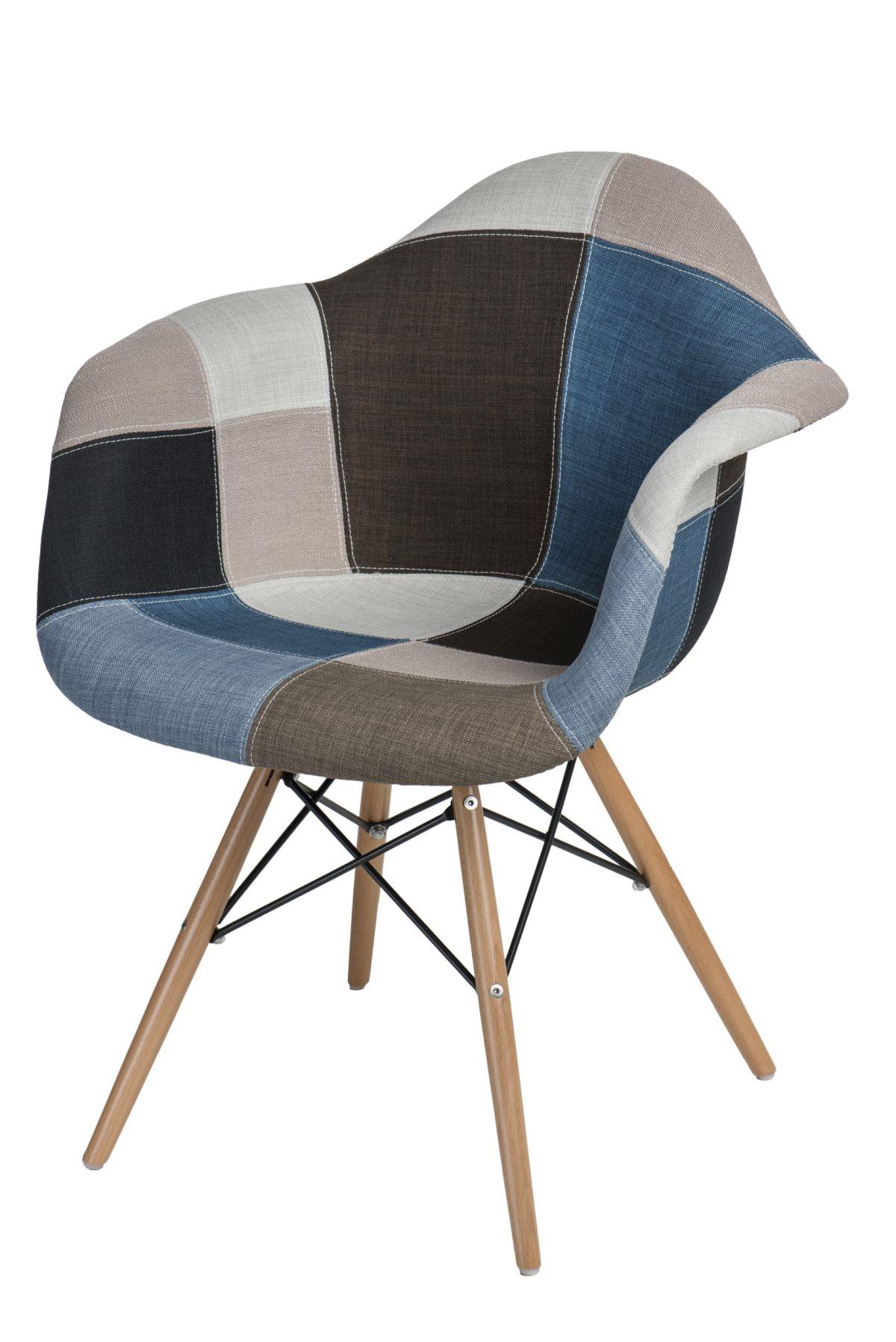 Jídelní židle s dřevěnou podnoží Blom patchwork, modrá