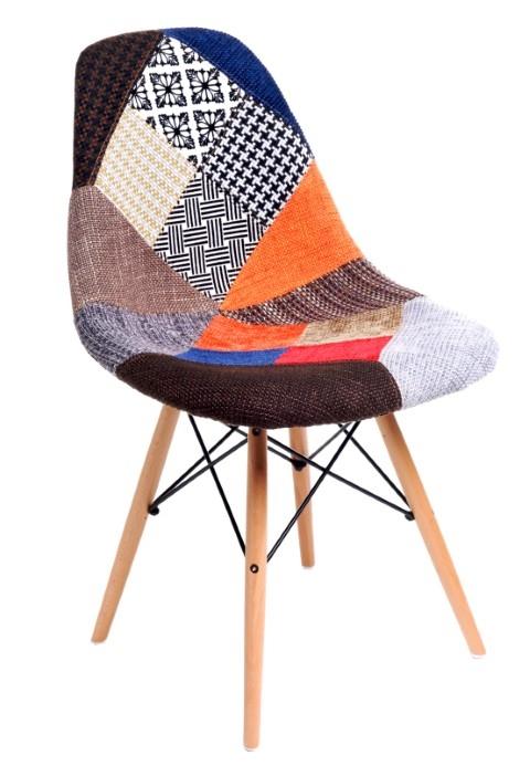 Jídelní židle s dřevěnou podnoží Desire patchwork, barevná