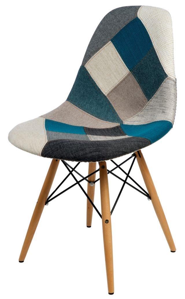 Jídelní židle s dřevěnou podnoží Desire patchwork, modrá