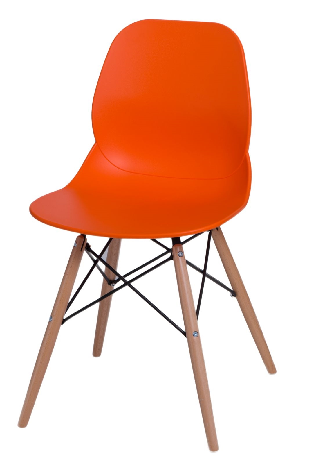 Jídelní židle s dřevěnou podnoží Skikt, oranžová