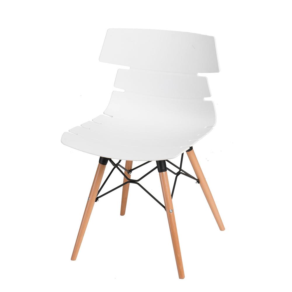 Jídelní židle s dřevěnou podnoží Stolen, bílá