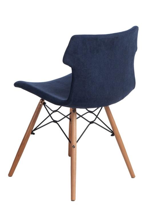 Jídelní židle s dřevěnou podnoží Stolen čalouněná, modrá