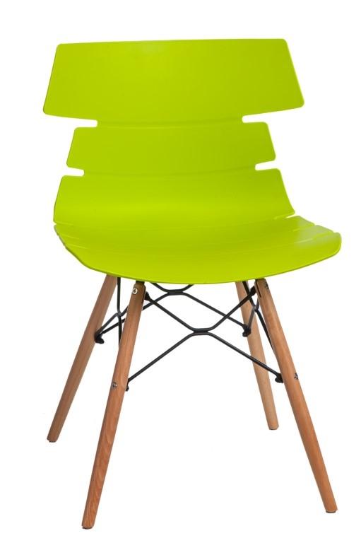 Jídelní židle s dřevěnou podnoží Stolen, zelená
