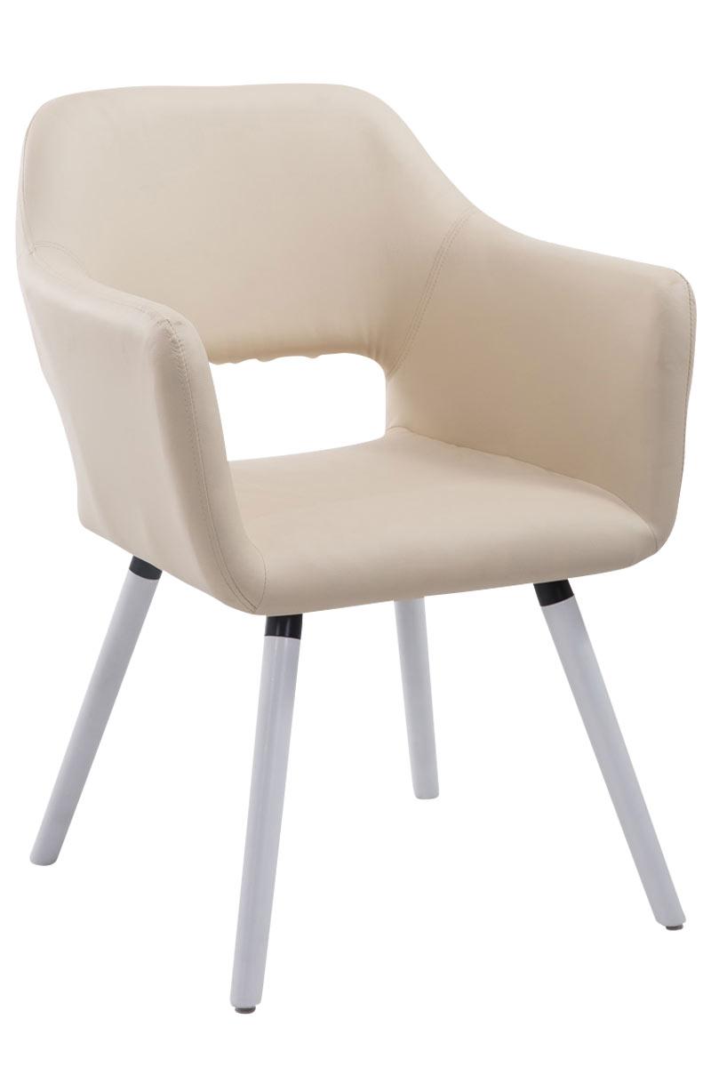 Jídelní židle s područkami Arizona kůže, bílé nohy hnědá