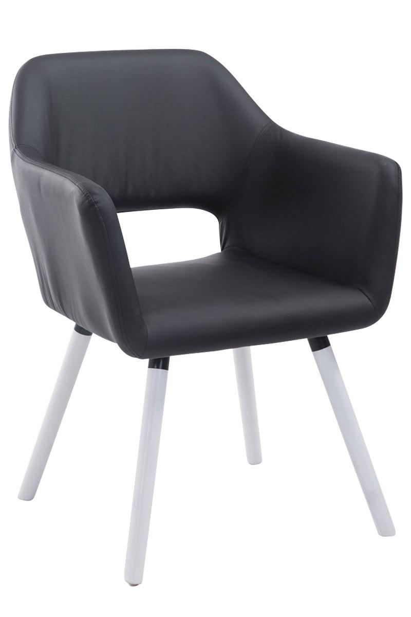 Jídelní židle s područkami Arizona kůže, bílé nohy černá