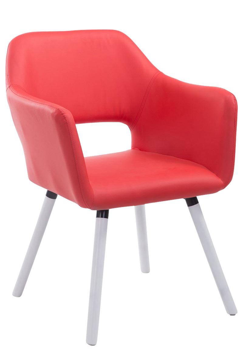 Jídelní židle s područkami Arizona kůže, bílé nohy červená