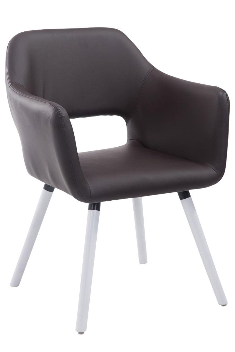 Jídelní židle s područkami Arizona kůže, bílé nohy šedá