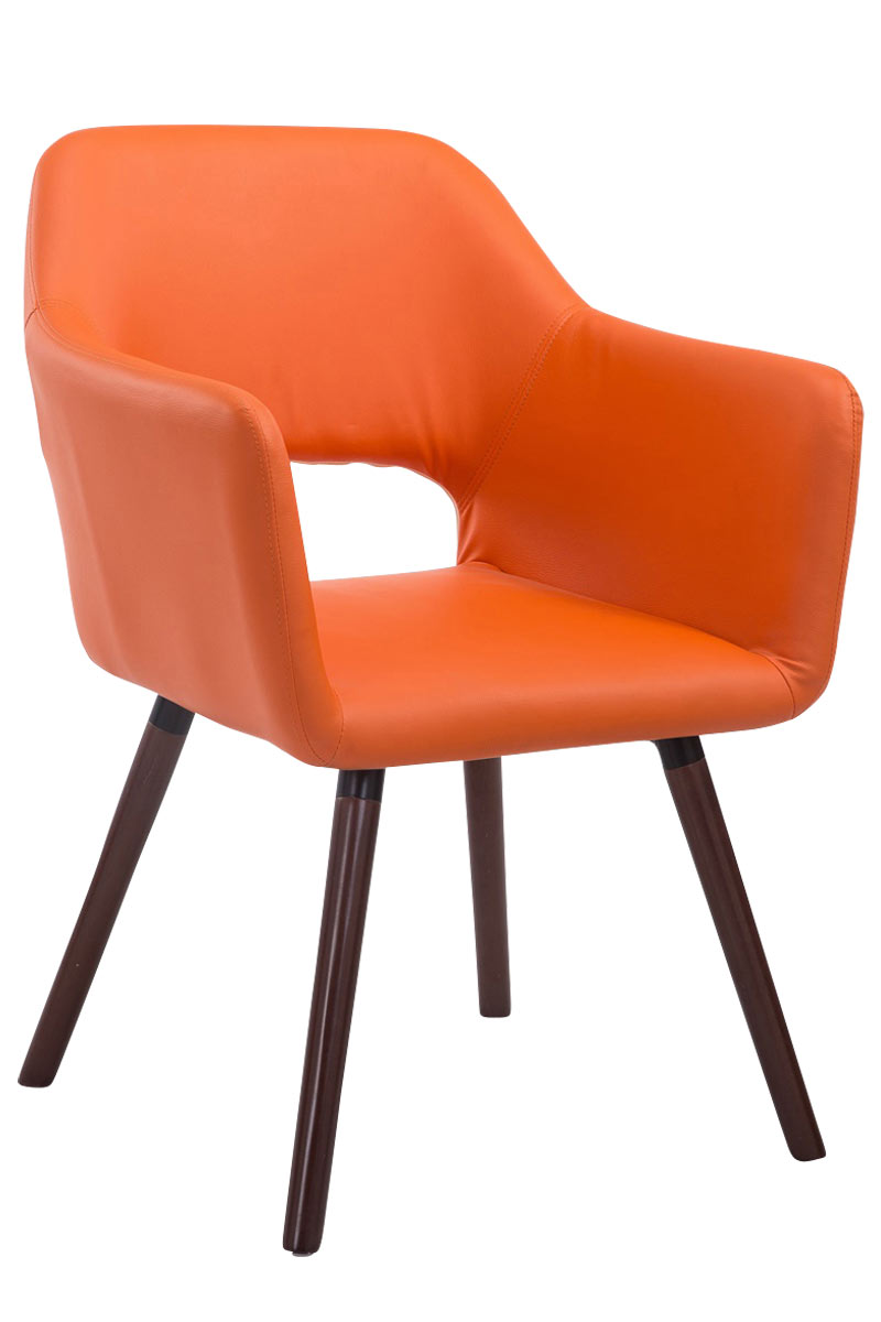 Jídelní židle s područkami Arizona kůže, nohy ořech oranžová