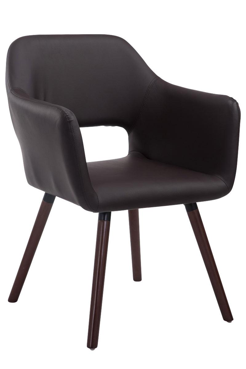 Jídelní židle s područkami Arizona kůže, nohy ořech světle hnědá