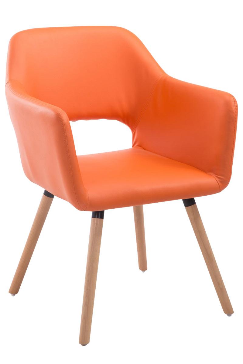 Jídelní židle s područkami Arizona kůže, přírodní nohy oranžová