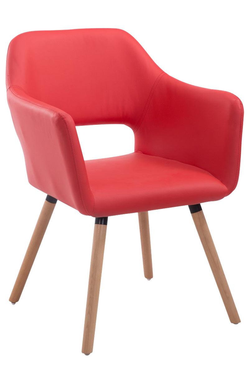 Jídelní židle s područkami Arizona kůže, přírodní nohy červená