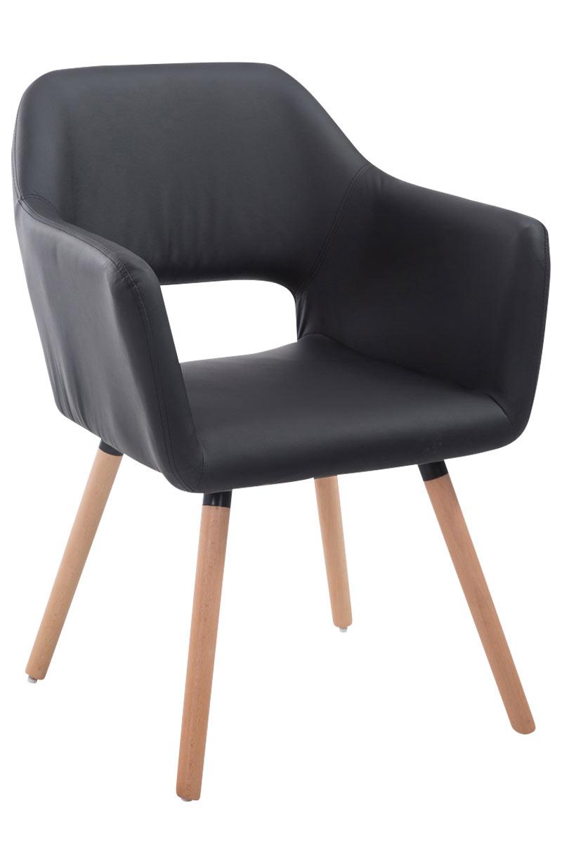 Jídelní židle s područkami Arizona kůže, přírodní nohy černá