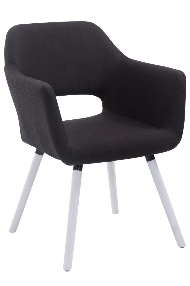 Jídelní židle s područkami Arizona textil, bílé nohy černá