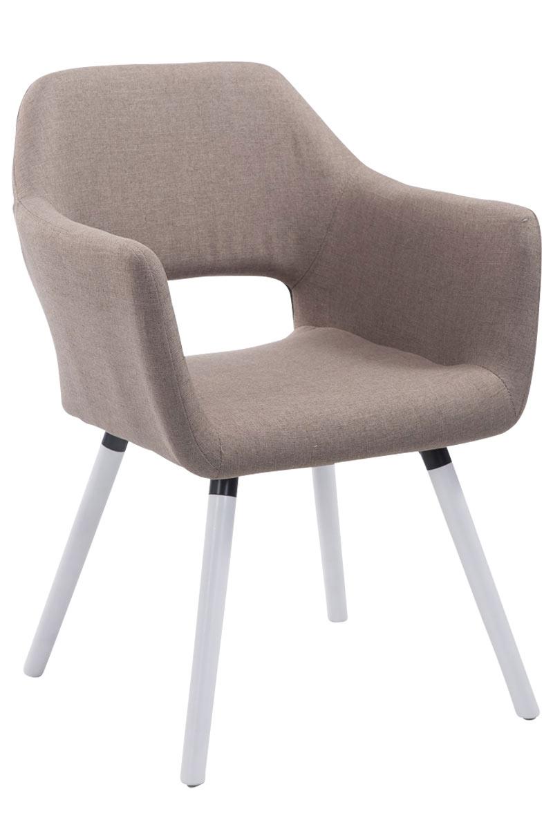 Jídelní židle s područkami Arizona textil, bílé nohy