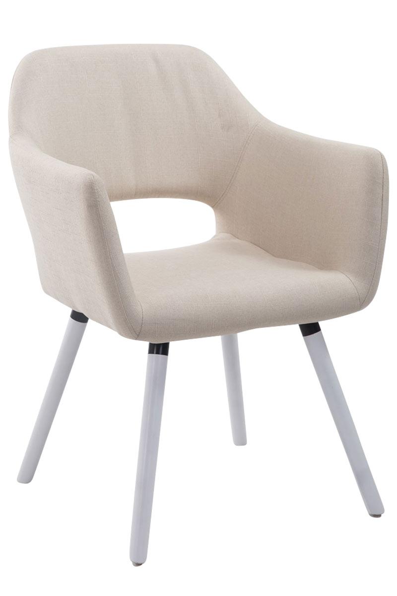 Jídelní židle s područkami Arizona textil, bílé nohy krémová