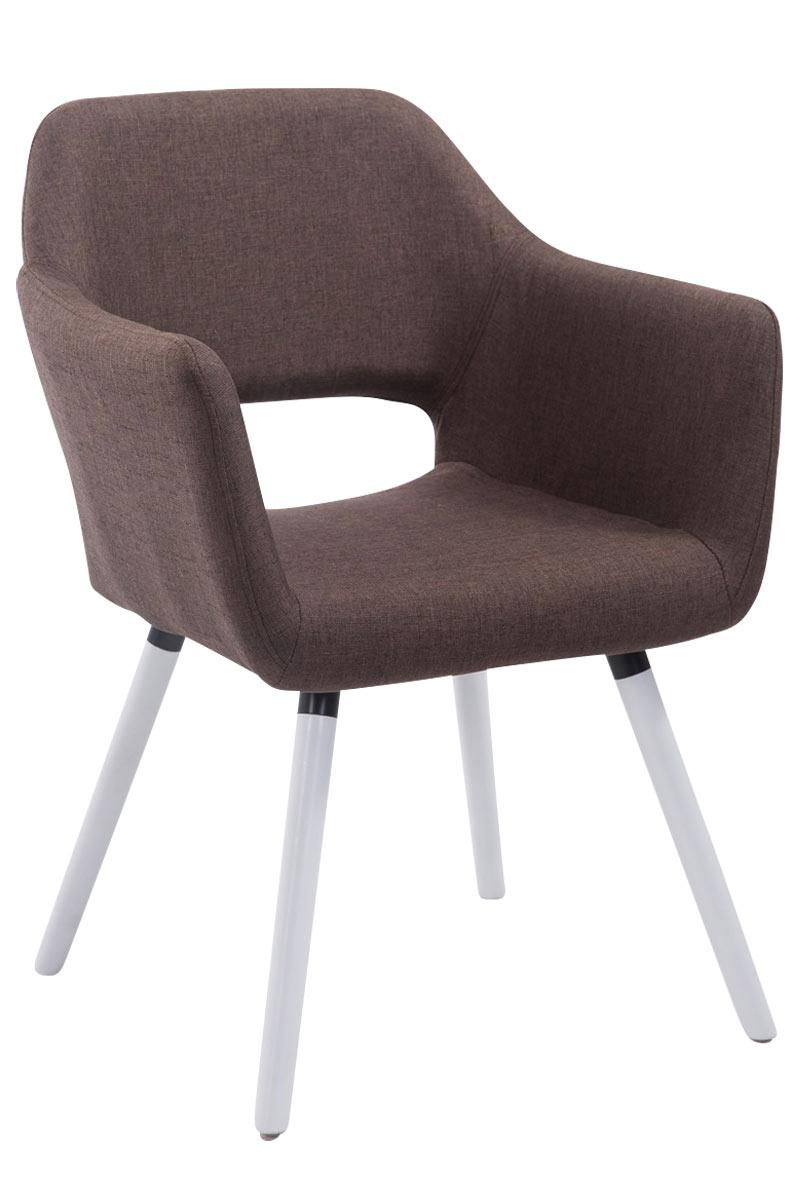 Jídelní židle s područkami Arizona textil, bílé nohy hnědá