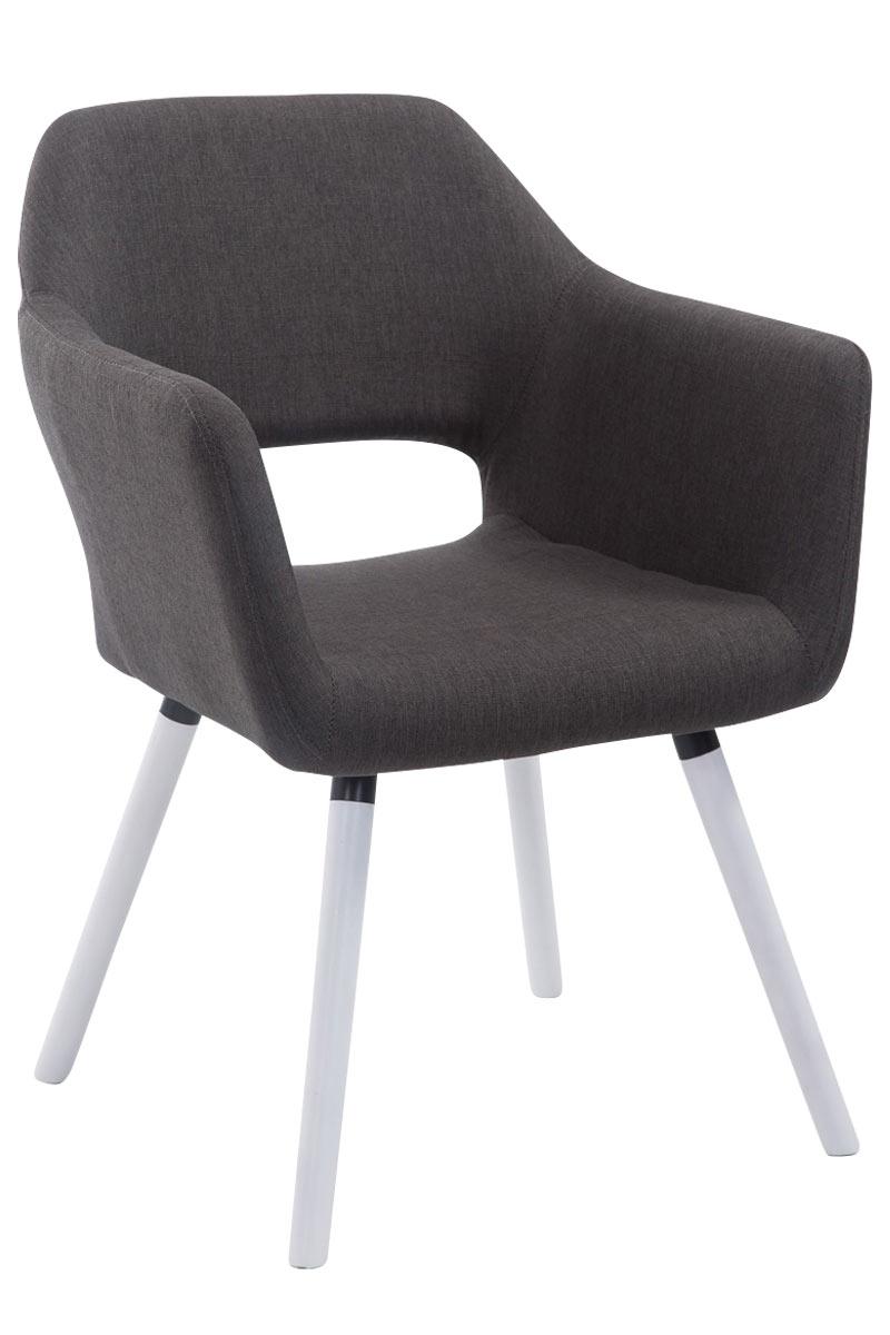 Jídelní židle s područkami Arizona textil, bílé nohy tmavě šedá
