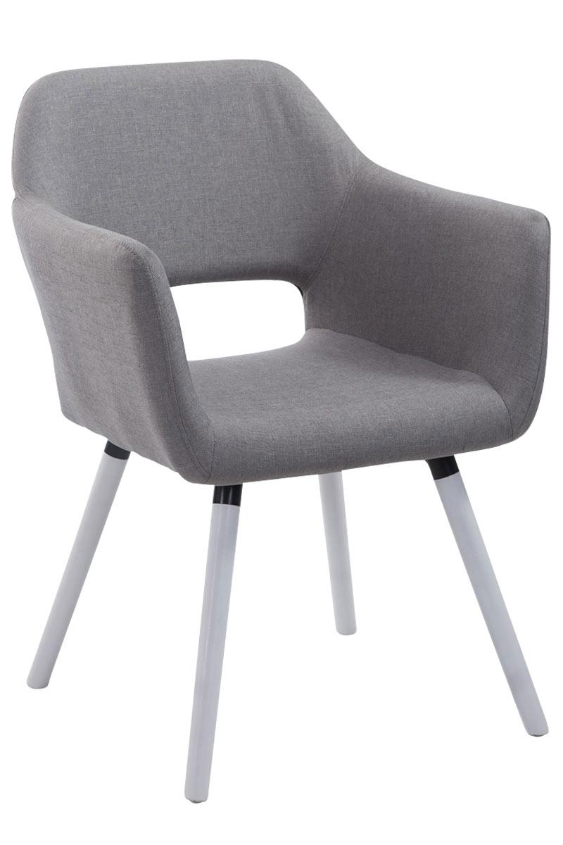 Jídelní židle s područkami Arizona textil, bílé nohy šedá