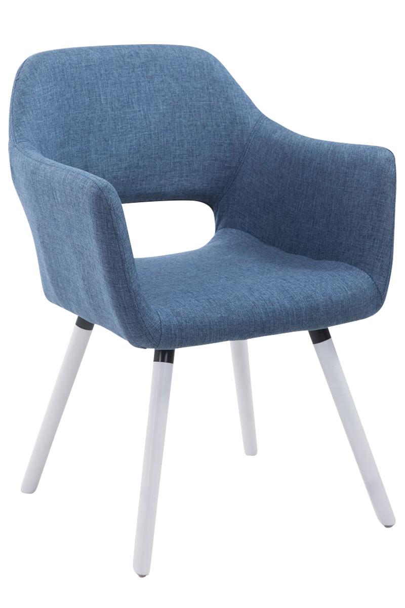 Jídelní židle s područkami Arizona textil, bílé nohy modrá