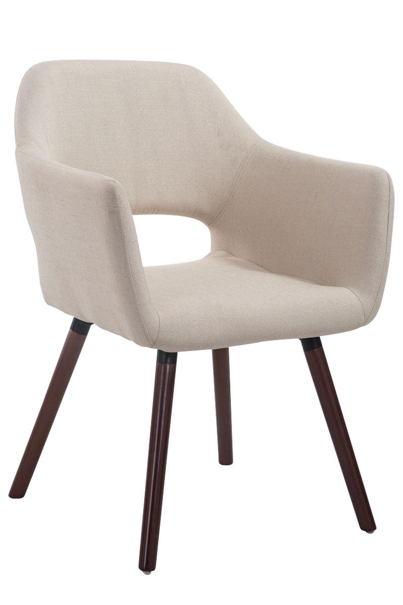 Jídelní židle s područkami Arizona textil, nohy ořech krémová