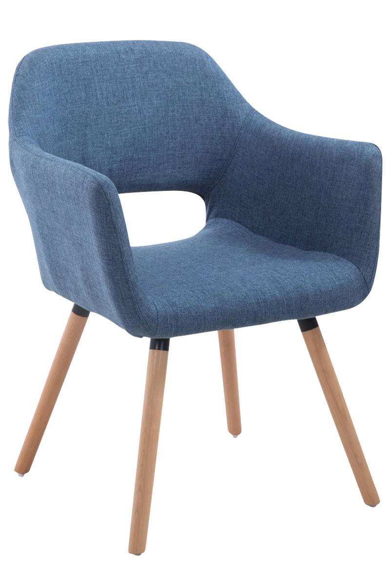 Jídelní židle s područkami Arizona textil, přírodní nohy modrá