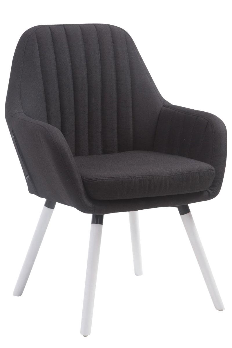 Jídelní židle s područkami Fiona textil, bílé nohy