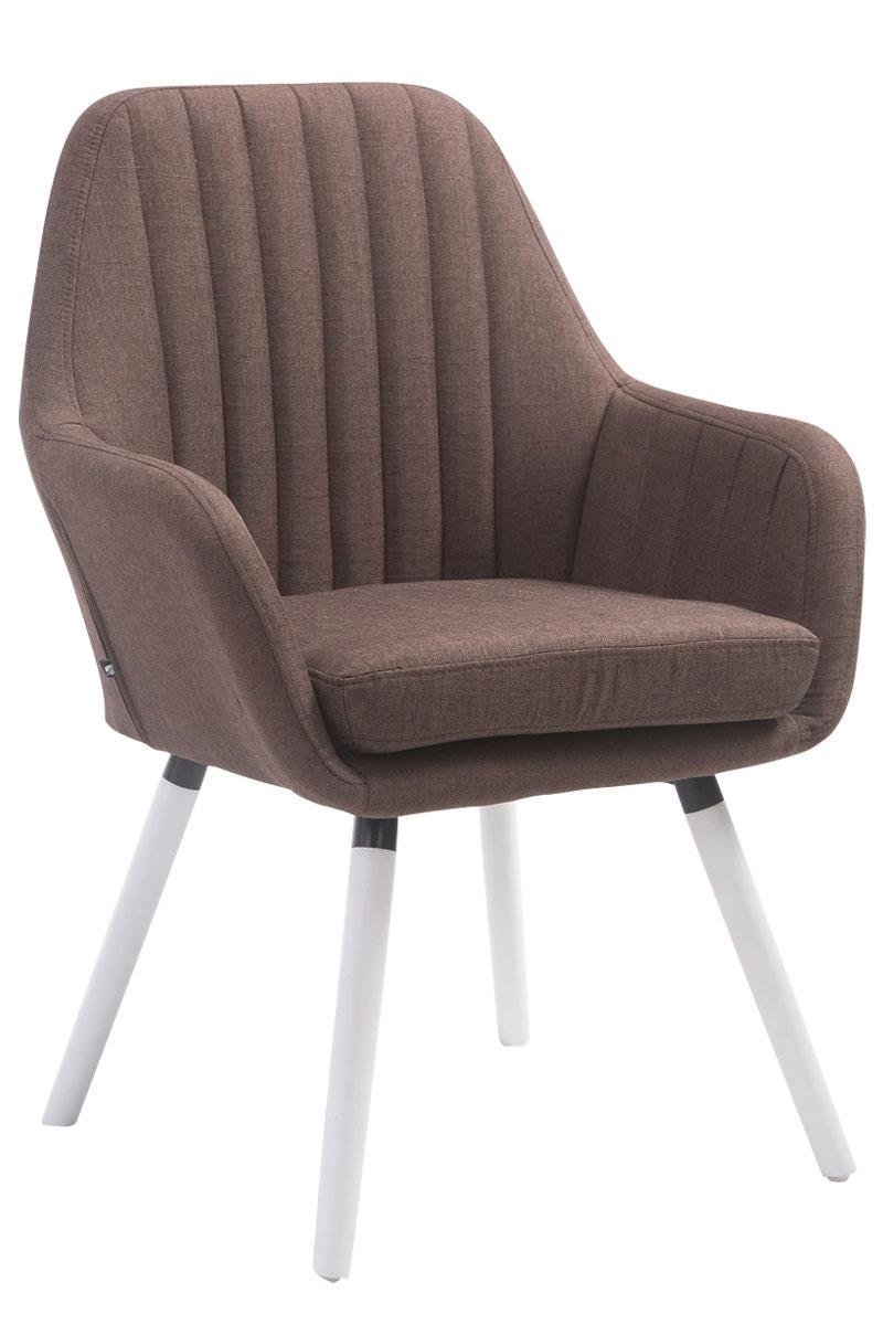 Jídelní židle s područkami Fiona textil, bílé nohy tmavě šedá