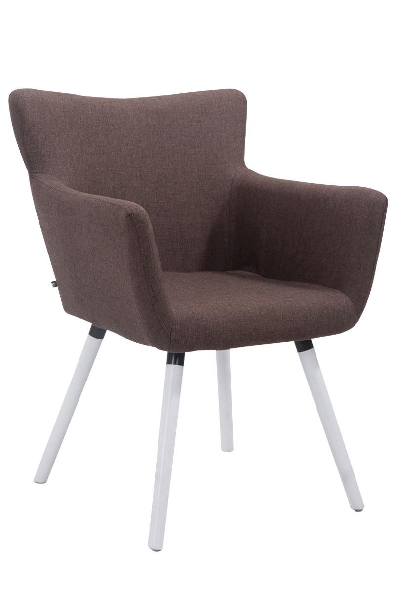 Jídelní židle s područkami Indian textil, bílé nohy modrá