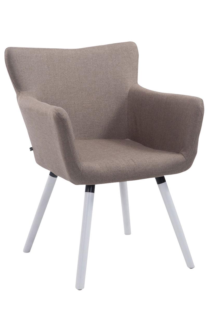Jídelní židle s područkami Indian textil, bílé nohy taupe