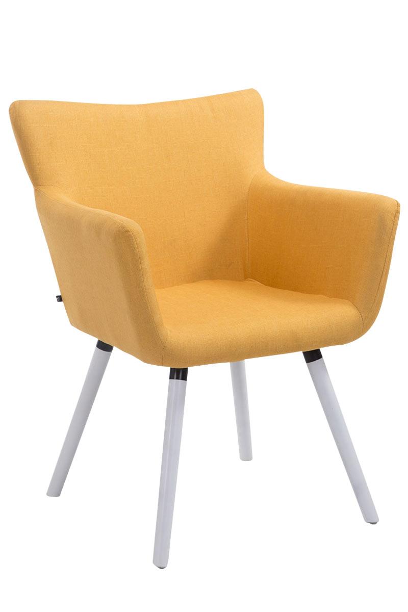 Jídelní židle s područkami Indian textil, bílé nohy žlutá