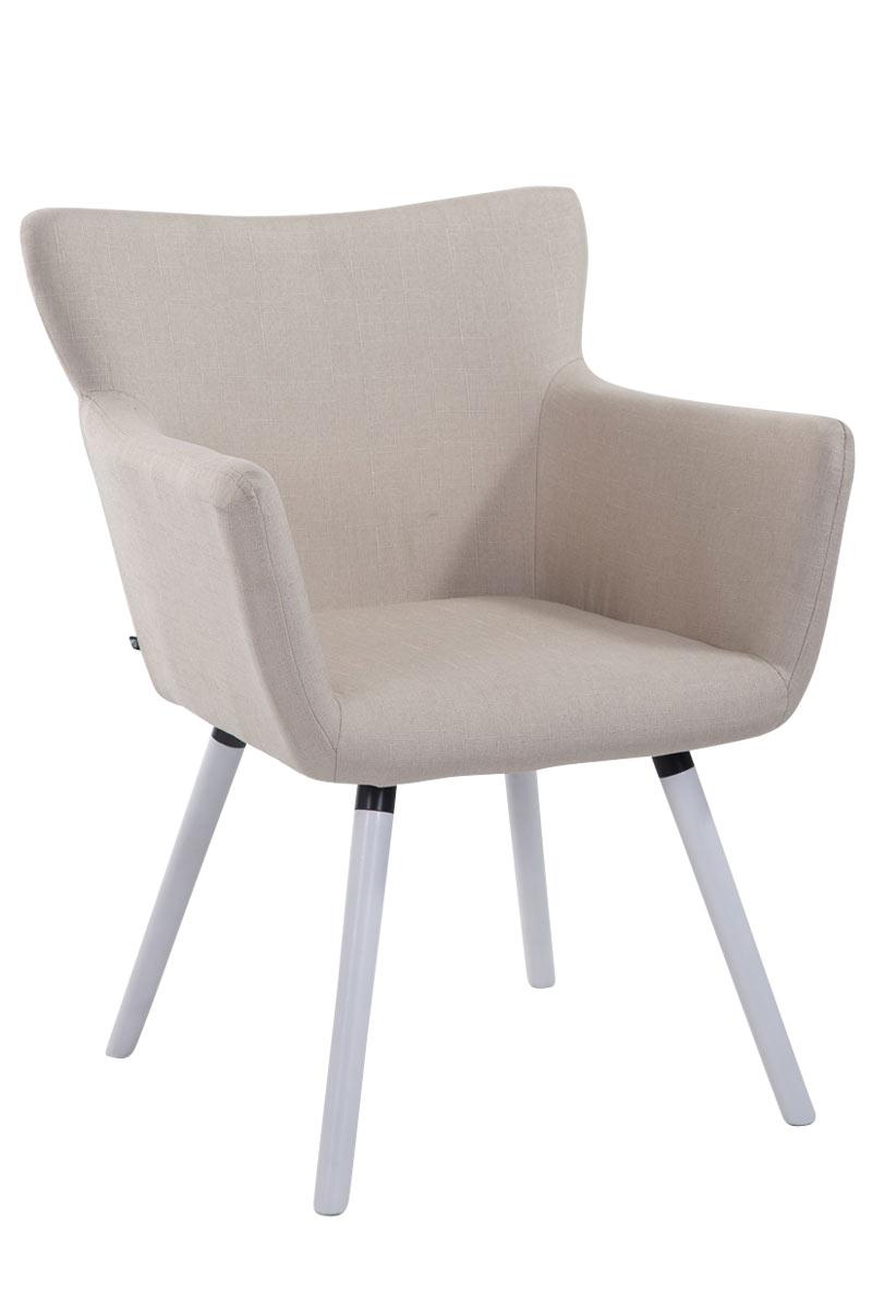 Jídelní židle s područkami Indian textil, bílé nohy krémová