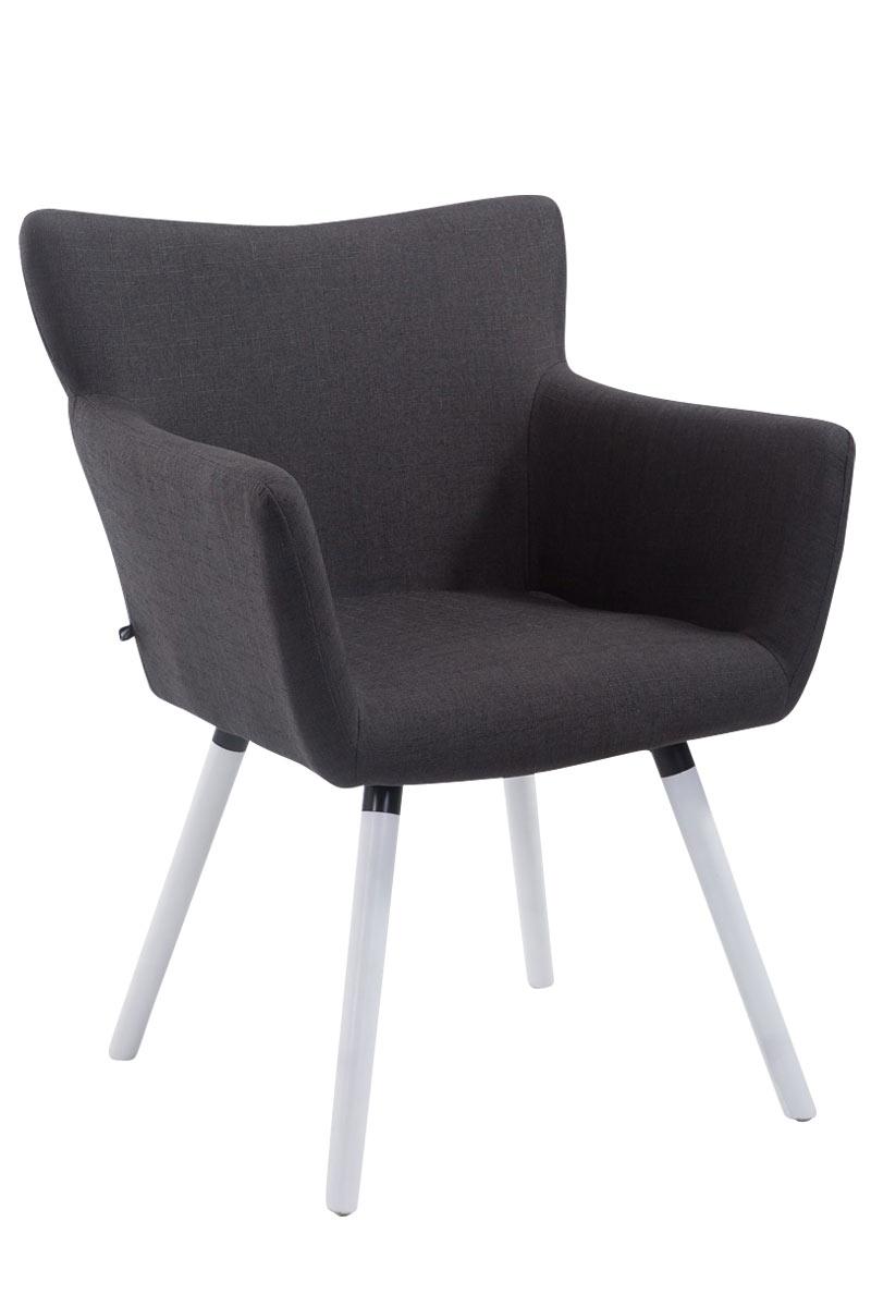 Jídelní židle s područkami Indian textil, bílé nohy tmavě šedá