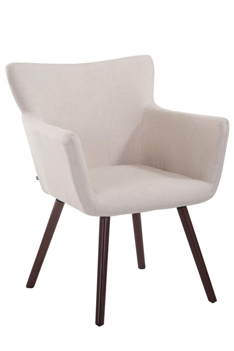 Jídelní židle s područkami Indian textil, nohy ořech krémová