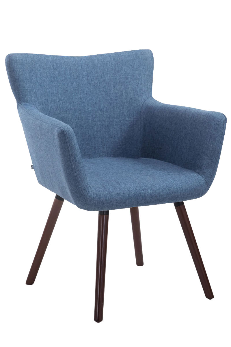 Jídelní židle s područkami Indian textil, nohy ořech modrá