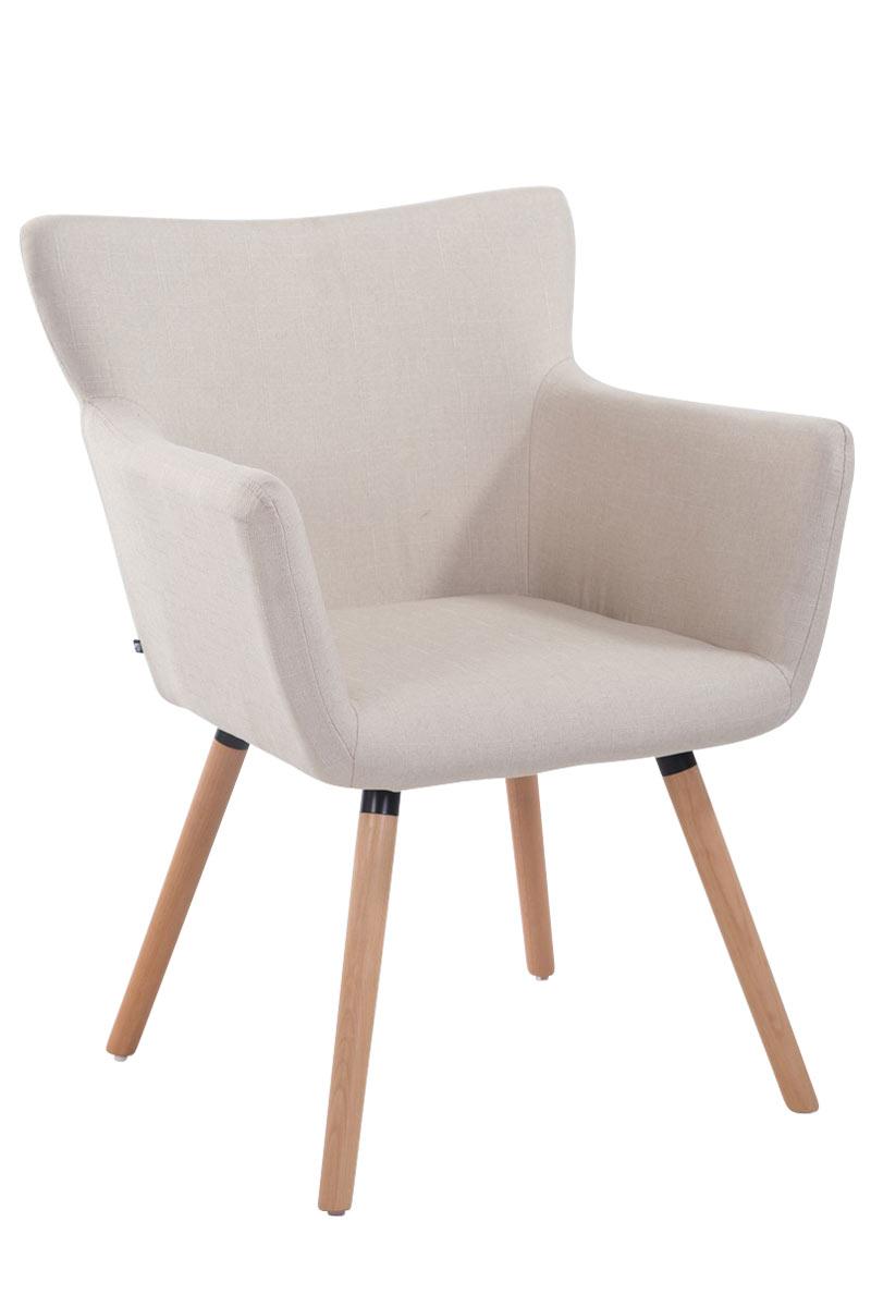 Jídelní židle s područkami Indian textil, přírodní nohy krémová