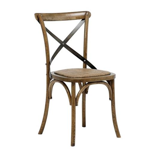 Jídelní židle s ratanovým sedákem Harvest (SET 2 ks), antik