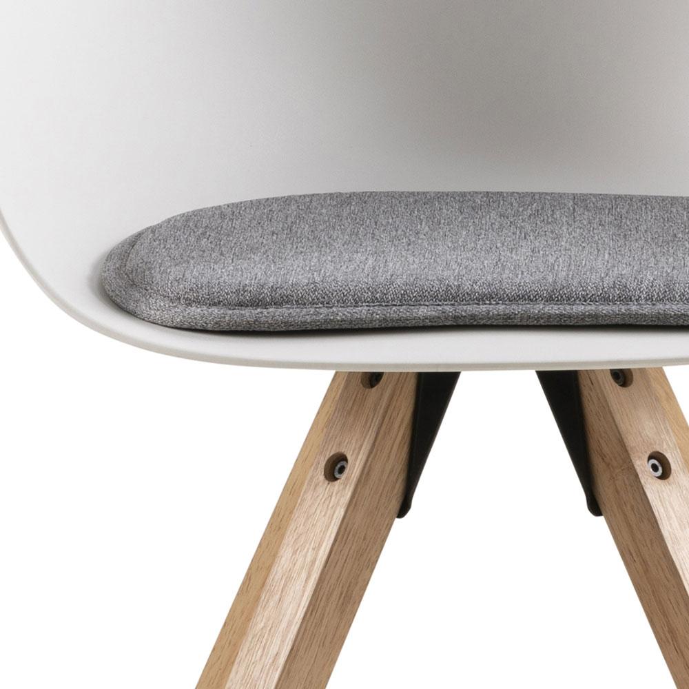 Jídelní židle Vilma s dřevěnou podnoží (SET 2 ks), bílá/šedá
