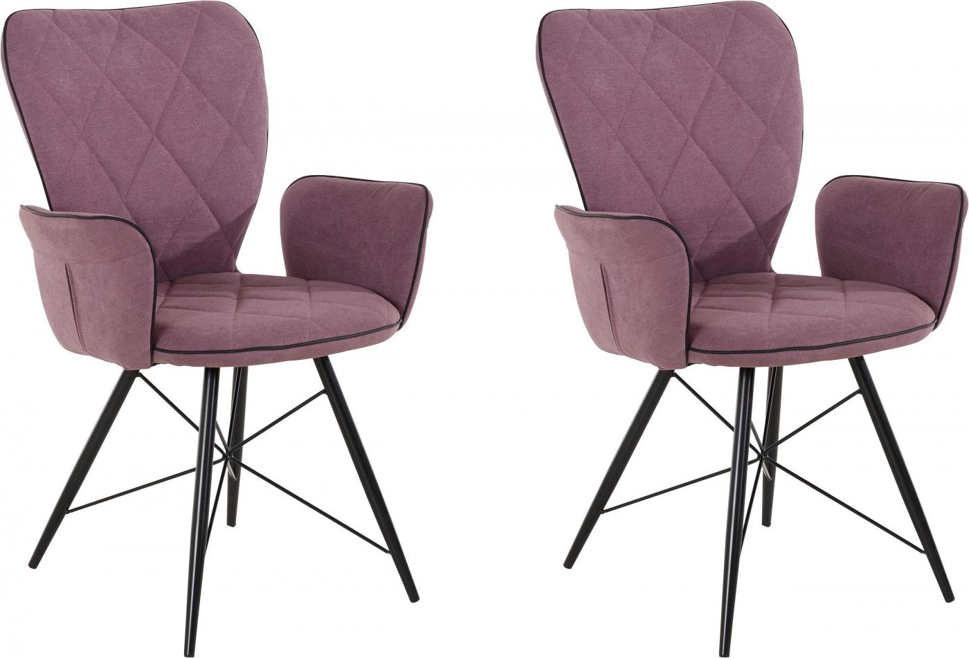 Jídelní židle Viole (SET 2 ks), antracitová / růžová