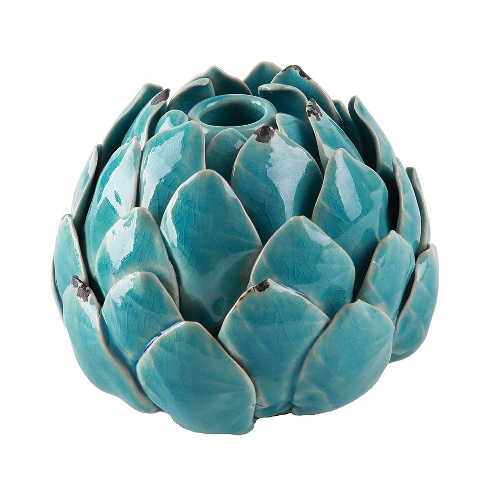 Kameninový svícen Artyčok, 15 cm tyrkysová