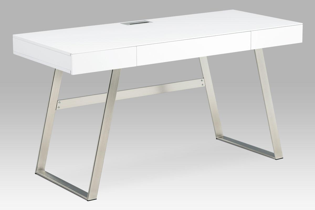 Kancelářský stůl se zásuvkami Roland 1, 140 cm, bílá/nikl