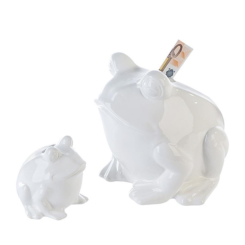 Kasička keramická Frosch, 11 cm, bílá